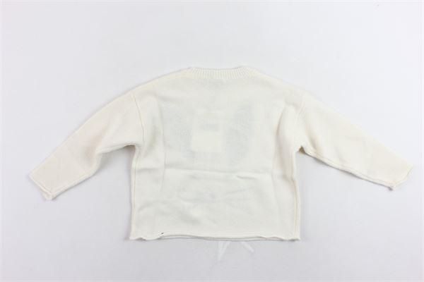 maglione tricot tinta unita con stampa IL GUFO | Maglie | A19A296EM220/108BEIGE