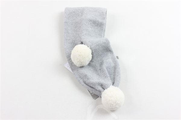 sciarpa tricot tinta unita con pon pon IL GUFO | Sciarpe | A19SP081EM820GRIGIO