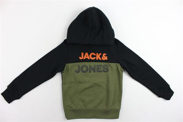 felpa con cappuccio felpata bicolore con stampa JACK&JONES | Felpe | 12166085NERO