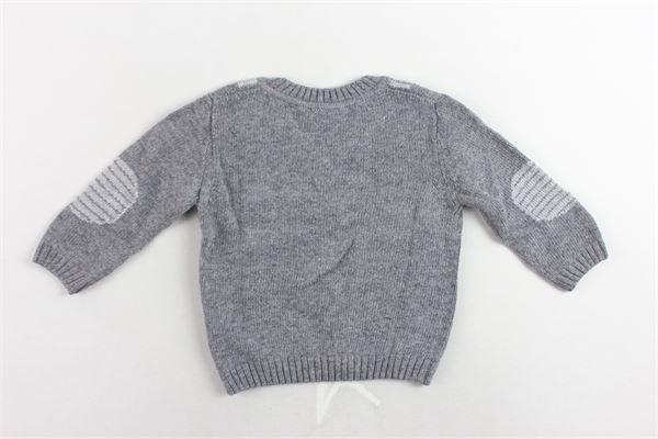 maglione scollo a punta tinta unita con stampa J.O. MILANO | Maglie | 763F3GRIGIO