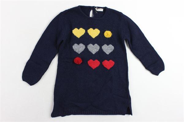 abito in lana manica lunga con stampa e applicazione J.O. MILANO | Abiti | 962E1BLU