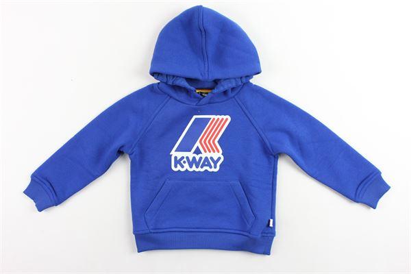 felpa con cappuccio felpata tinta unita stampa k-way K-WAY | Felpe | K00A4S0COBALTO