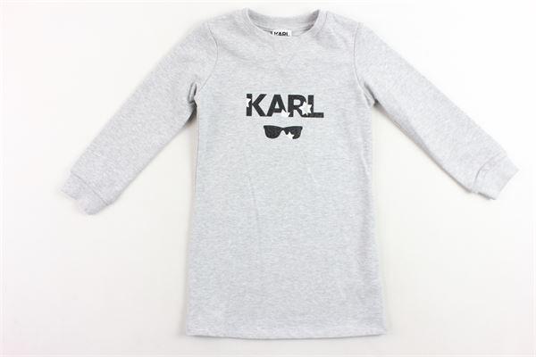 abito in felpa garzato tinta unita con stampa KARL LAGERFELD | Abiti | Z1208684TGRIGIO