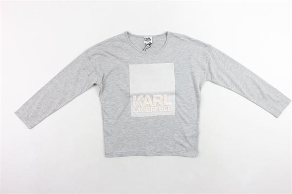 shirt mezza manica tinta unita con stampa KARL LAGERFELD | Shirts | Z15097A34GRIGIO