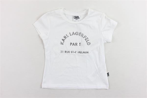 t-shirt mezza manica tinta unita con stampa KARL LAGERFELD | T-shirts | Z1516210BBIANCO