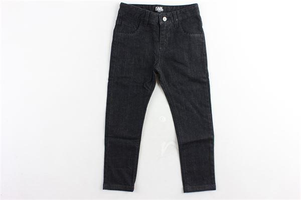 jeans 5 tasche tinta unita rouches alle tasche girovita regolabile KARL LAGERFELD | Jeans | Z24075ZB2NERO