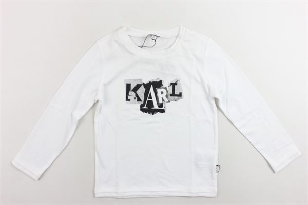shirt manica lunga tinta unita con stampa KARL LAGERFELD | Shirts | Z25033/10BBIANCO