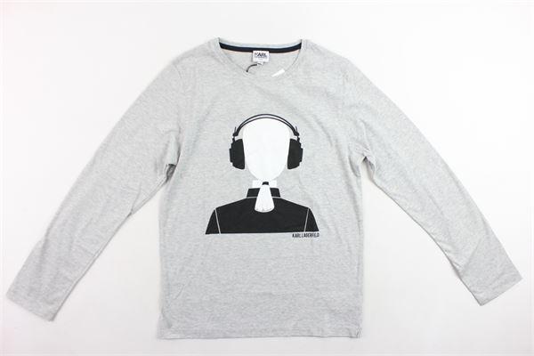 shirt manica lunga tinta unita con stampa KARL LAGERFELD | Shirts | Z25036/A34GRIGIO
