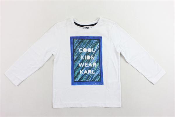 shirt manica lunga tinta unita con stampa KARL LAGERFELD | Shirts | Z25098/10BBIANCO