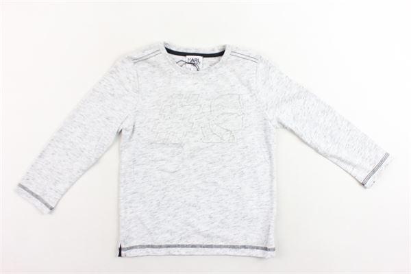 shirt manica lunga tinta unita con stampa in rilievo KARL LAGERFELD | Shirts | Z25100/A10GRIGIO