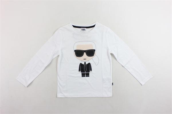 shirt manica lunga tinta unita con stampa KARL LAGERFELD | Shirts | Z25160/10B064BIANCO