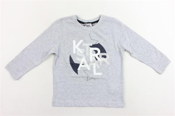 shirt manica lunga tinta unita con stampa KARL LAGERFELD | Shirts | Z25165/A32GRIGIO