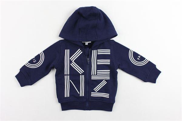 felpa zip e cappuccio garzata tinta unita stampa kenzo KENZO | Felpe | KN17547BLU
