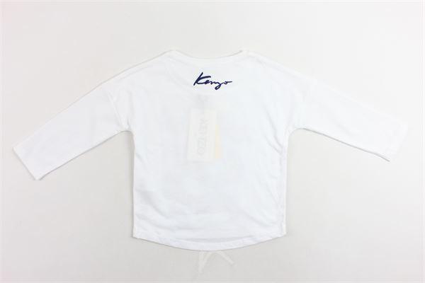 shirt manica lunga in cotone tinta unita con stampa KENZO | Shirts | KP10138BIANCO