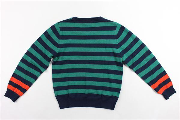 maglione in cotone e lana girocollo rigato con stampa kenzo KENZO | Maglie | KP18518BLU