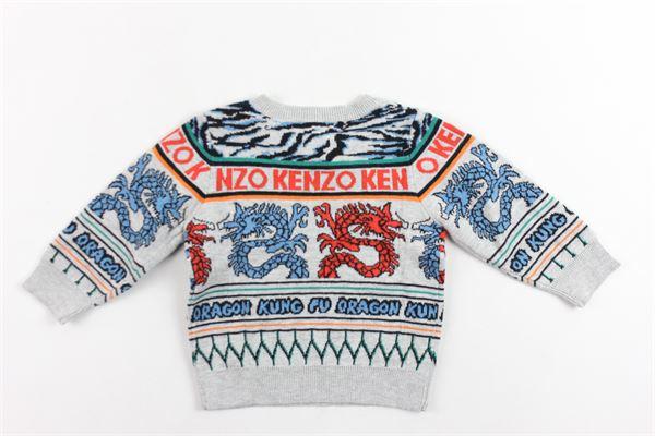 maglione in cotone e lana girocollo stampa fantasia con bottoni alla spalla KENZO | Maglie | KP18528-BBGRIGIO