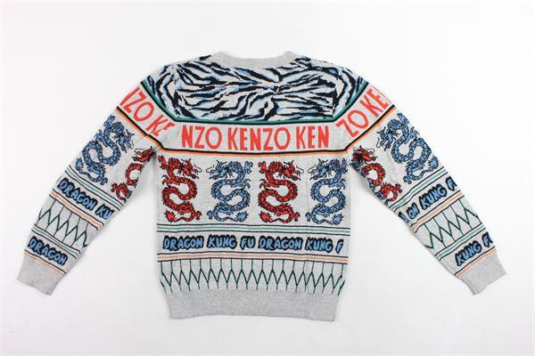 maglione in cotone e lana girocollo stampa fantasia KENZO | Maglie | KP18528GRIGIO