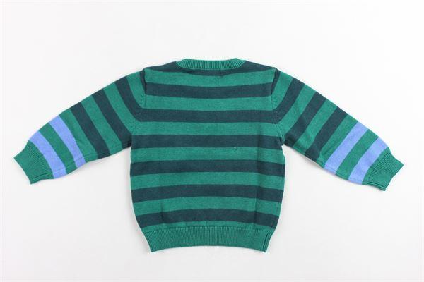 maglione in cotone e lana girocollo rigato con stampa kenzo con bottoni alla spalla KENZO | Maglie | KP18537VERDE