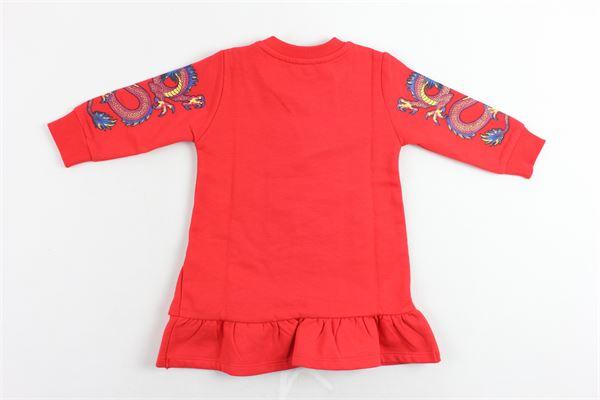 abito felpato tinta unita con stampa kenzo e bottoni alla spalla KENZO | Abiti | KP30078-BBROSSO