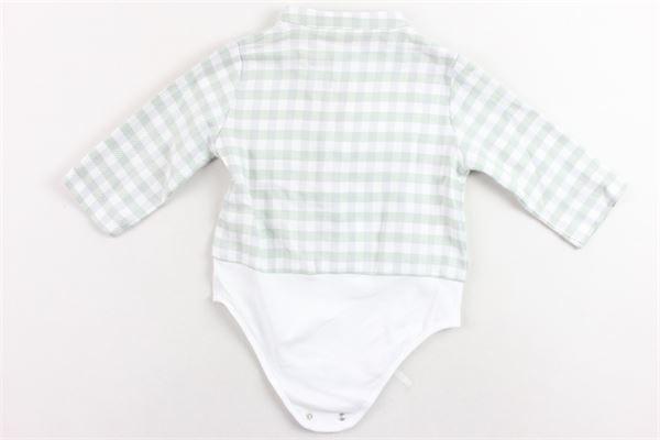 camicia a body collo coreano fantasia a quadri. LA STUPENDERIA | Camicie | LBDO12Y01.1VERDE