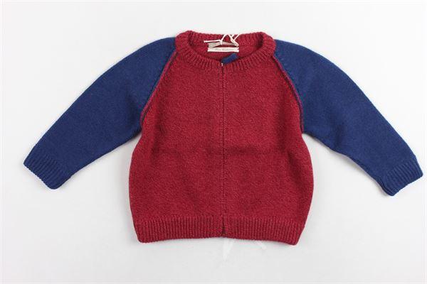 cardigan con zip in lana maniche in contrasto LA STUPENDERIA | Maglie | ZJCR17708712ROSSO