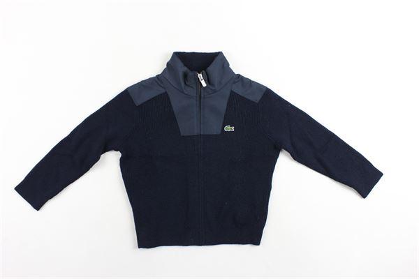 cardigan collo alto con zip in lana tinta unita con logo LACOSTE | Maglie | AJ901800166BLU