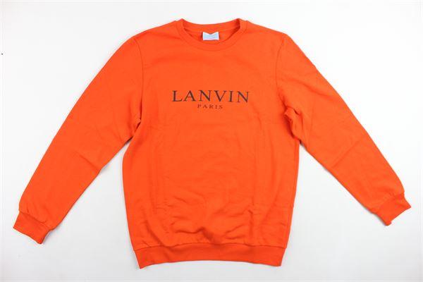 felpa girocollo felpata tinta unita con stampa LANVIN | Felpe | 4J4000JX460ARANCIONE