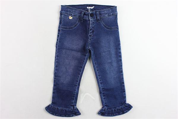 jeans tinta unita girovita regolabile con rouches alle caviglie LE BEBE' | Jeans | LBG2115BLU