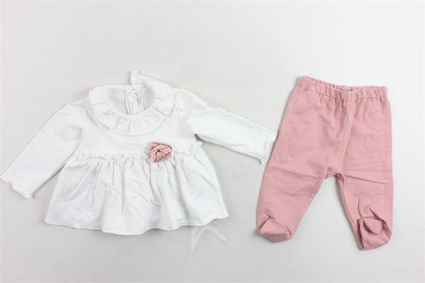 completo maglia cotone caldo con rouches più ghettina tinta unita LE BEBE' | Completi | LBG2358BIANCO