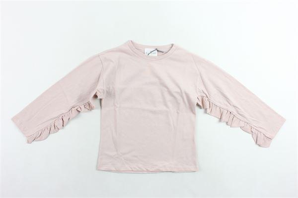 shirt in cotone tinta unita con rouche alle maniche LE PETIT COCO | Shirts | 103500010ROSA