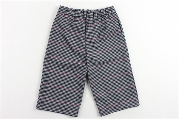 pantalone elastico in vita a palazzo fantasia a quadri LE PETIT COCO | Pantaloni | 82L1055GRIGIO