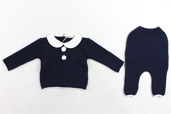 completo maglia con colletto e pon pon più pantalone in lana LITTLE BEAR | Completi | 6015BLU