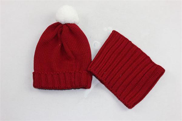 completo cappello in lana con pon pon in contrasto più collo LITTLE BEAR | Completi | 6036ROSSO