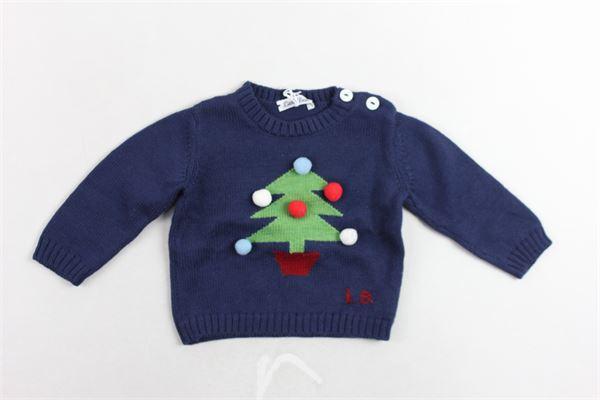 maglione girocollo in lana verigine tinta unita con stampa bottoni alla spalla e applicazione pon pon colorati LITTLE BEAR | Maglie | 6124BLU