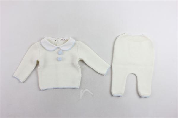 completo maglia più pantalone in lana tinta unita profilie pon pon in contrasto LITTLE BEAR | Completi | 61311BIANCO