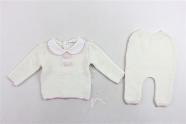 completo maglia più pantalone in lana profili in contrasto LITTLE BEAR | Completi | 6131PANNA