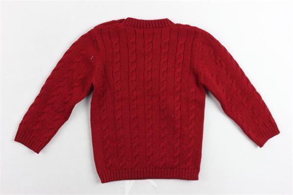 maglione girocollo in lana vergina tinta unita bottoni alla spalla LITTLE BEAR | Maglie | 6202ROSSO