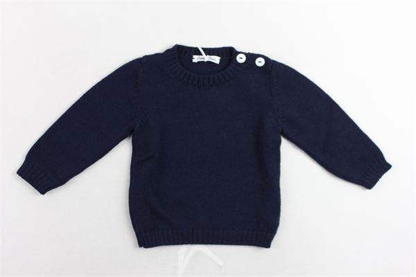 maglione girocollo in lana vergine tinta unita bottoni alla spalla LITTLE BEAR | Maglie | 6204BLU