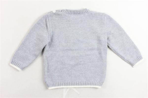 maglione girocollo in lana vergine tinta unita con stampa e bottoni alla spalla LITTLE BEAR | Maglie | 6208GRIGIO