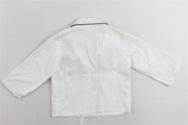 camicia manica lunga tinta unita ricamo al collo in contrasto LITTLE BEAR | Camicie | 6238BIANCO