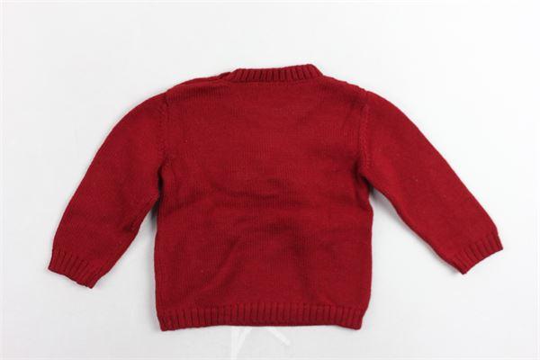 maglione girocollo in lana verigine tinta unita con stampa bottoni alla spalla e applicazione pon pon colorati LITTLE BEAR | Maglie | 6124ROSSO