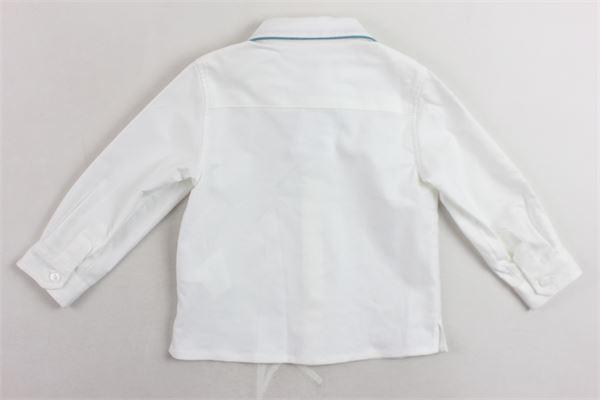 camicia manica lunga tinta unita ricamo al collo in contrasto LITTLE BEAR | Camicie | 8209BIANCO