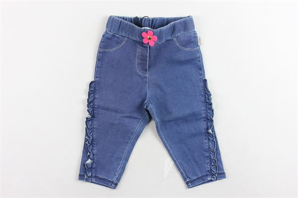 jeans tinta unita elastico in vita con rouches laterali LITTLE MARC JACOB | Jeans | W04158Z10BLU