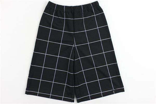 pantalone vita alta a palazzo in jersey cropped fantasia a quadri LIU JO | Pantaloni | G68084J5510NERO