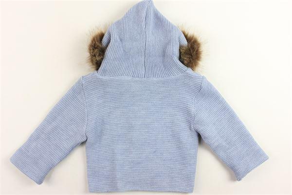 cappotto in maglia tinta unita cappuccio in piuma lunga MAC ILUSIO'N | Giubbini | 7481AZZURRO