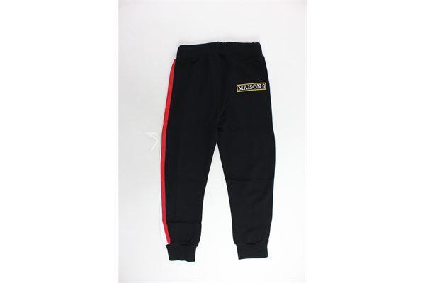 pantalone tuta garzato tinta unita banda in contrasto con stampa MAISON 9 PARIS | Pantaloni | 636NERO