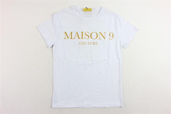 t-shirt mezza manica tinta unita con stampa MAISON 9 PARIS | T-shirts | 826BIANCO