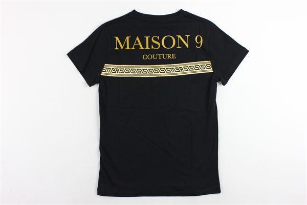 t-shirt mezza manica tinta unita con stampa MAISON 9 PARIS | T-shirts | 827NERO