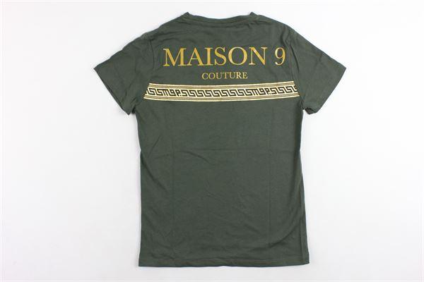 t-shirt mezza manica tinta unita con stampa MAISON 9 PARIS | T-shirts | 827VERDE