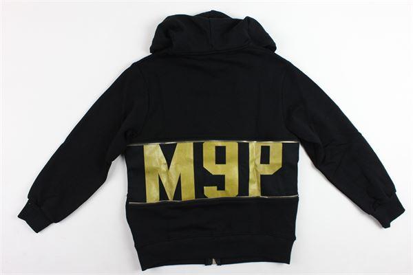felpa zip e cappuccio garzata tinta unita con stampa MAISON 9 PARIS | Felpe | 861NERO